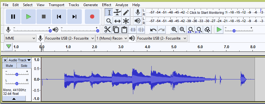 Recording with your Scarlett 2i2 2nd Gen in Audacity