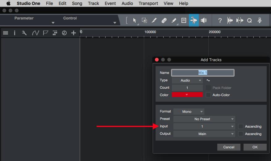Studio One: Setting up Audio Tracks for recording